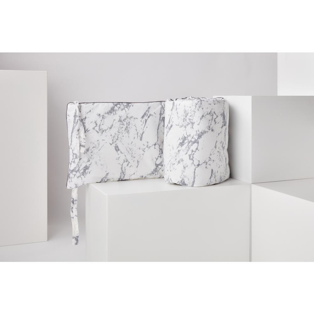 KraftKids Nestchen weißer Marmor Nestchenlänge 60-60-60 cm für Bettgröße 120 x 60 cm