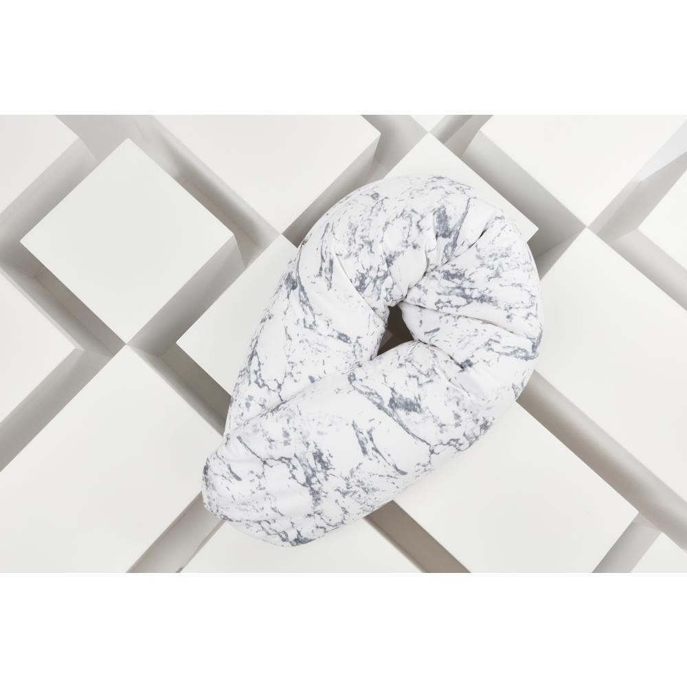 KraftKids qualitäts Stillkissen weißer Marmor mit Micro-EPS-Perlen mit TOXPROOF-ZERTIFIKAT des TÜV-Rheinland