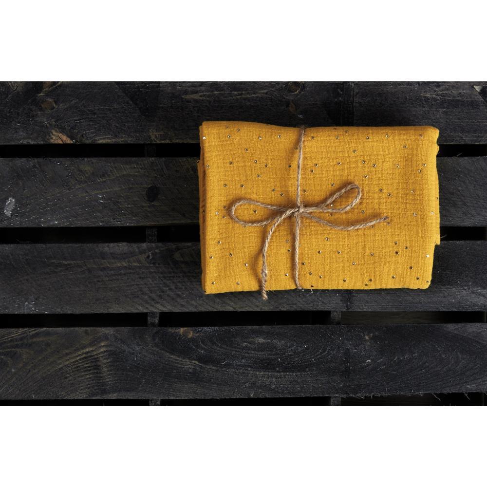 KraftKids Musselintuch Musselin goldene Punkte auf Gelb