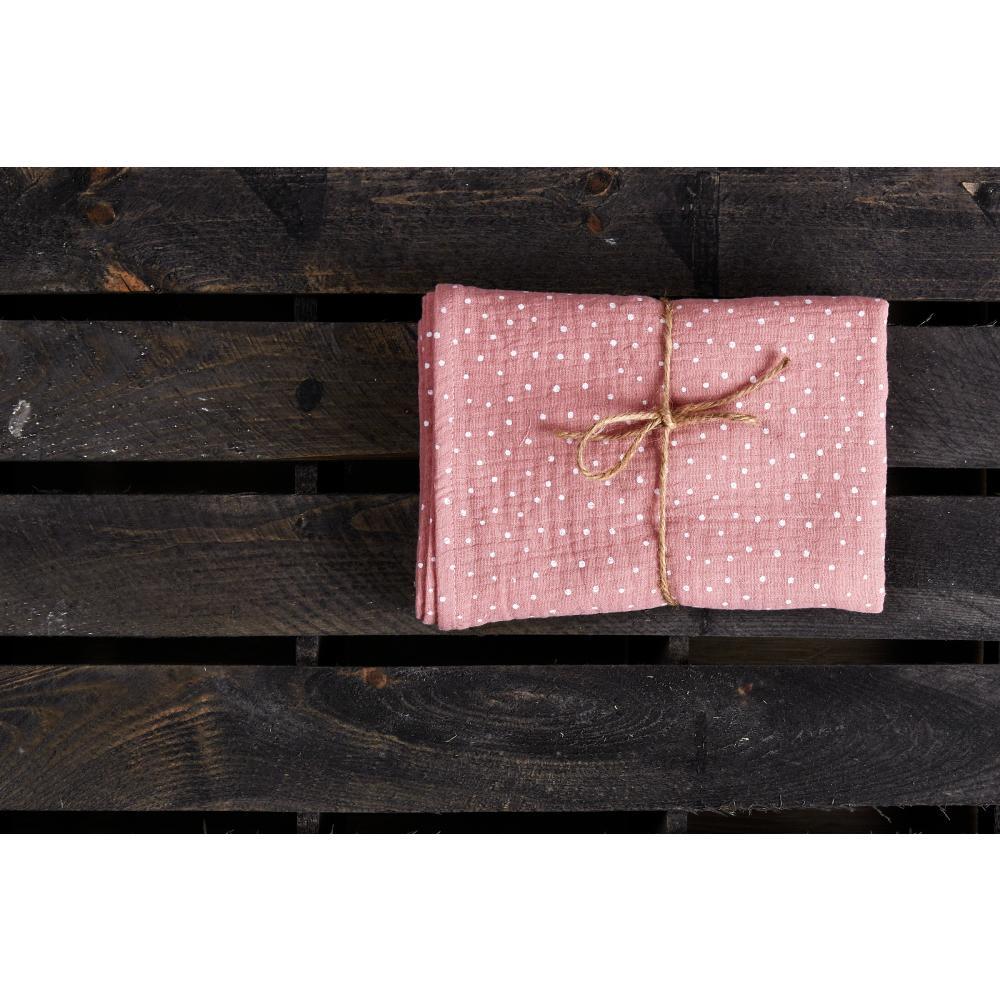 KraftKids Musselintuch Musselin rosa Punkte