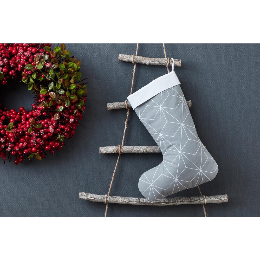 KraftKids Weihnachtssocke weiße dünne Diamante auf Grau Weihnachtsstrumpf