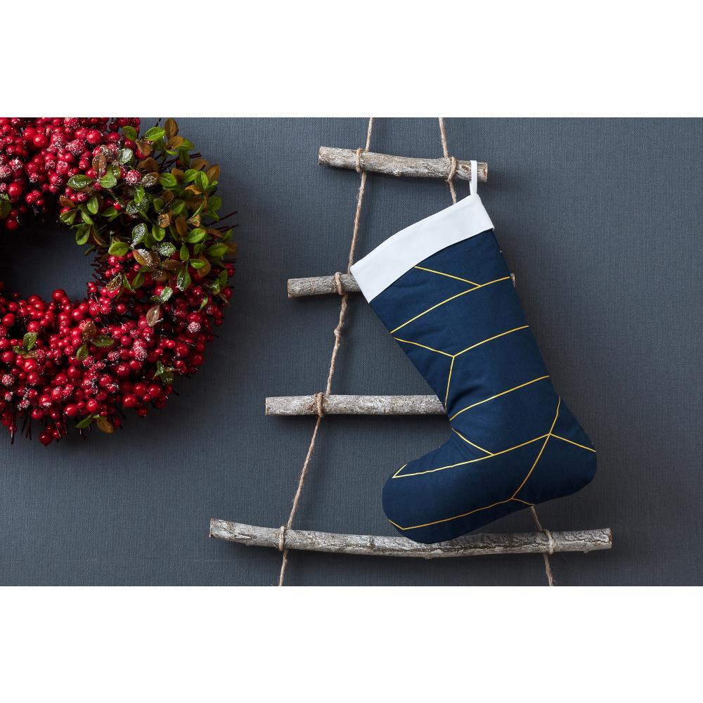 KraftKids Weihnachtssocke goldene Linien auf Dunkelblau Weihnachtsstrumpf
