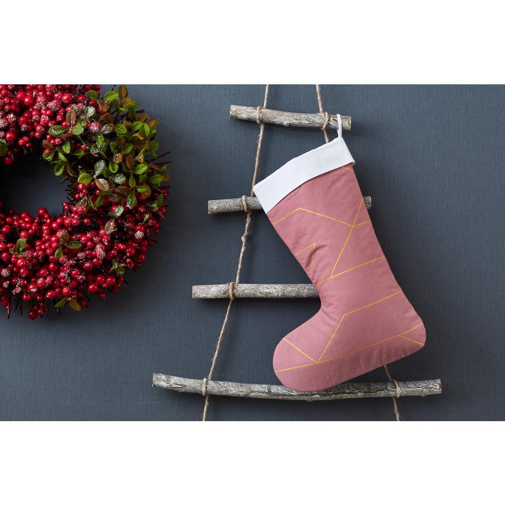 KraftKids Weihnachtssocke goldene Linien auf Rosa Weihnachtsstrumpf