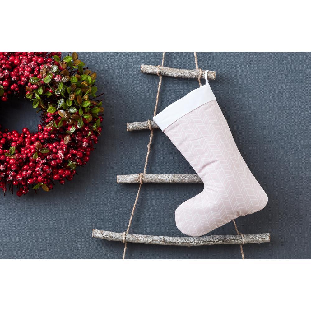 KraftKids Weihnachtssocke weiße Feder Muster auf Rosa Weihnachtsstrumpf