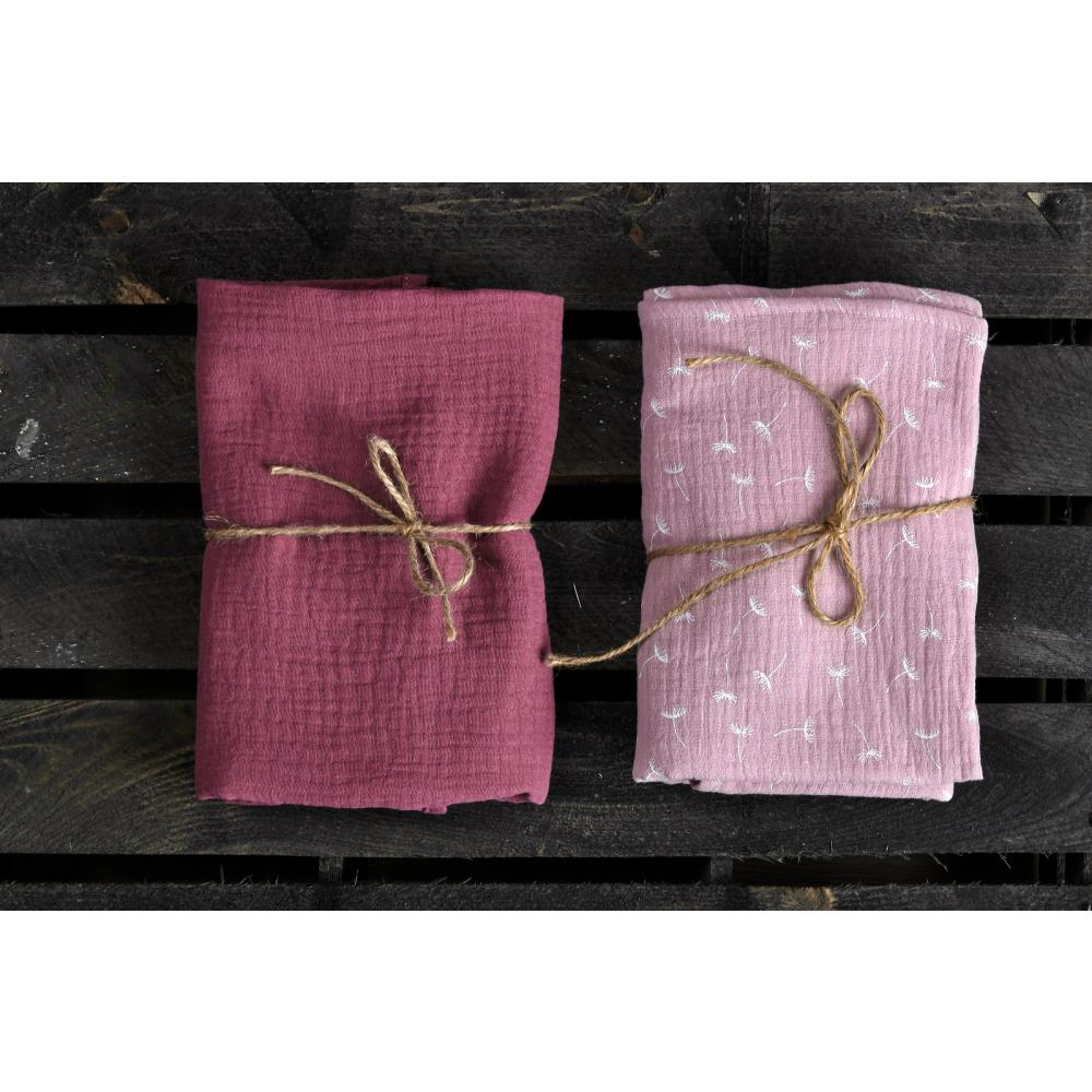 KraftKids Musselintuch Musselin purpur und Musselin rosa Pusteblumen