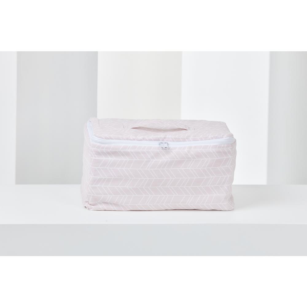 KraftKids Körbchen verschliessbar weiße Feder Muster auf Rosa 30 x 18 x 15 cm