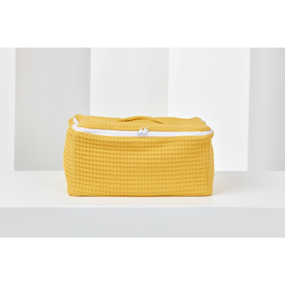 KraftKids Körbchen verschliessbar Waffel Piqué mustard 30 x 18 x 15 cm
