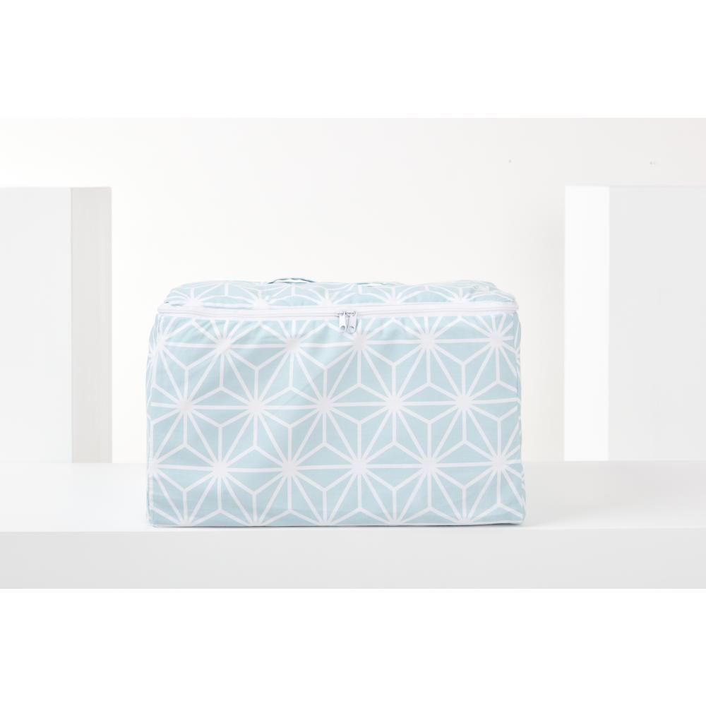 KraftKids Körbchen verschliessbar weiße Diamante auf Pastel Blau 33 x 20 x 20 cm