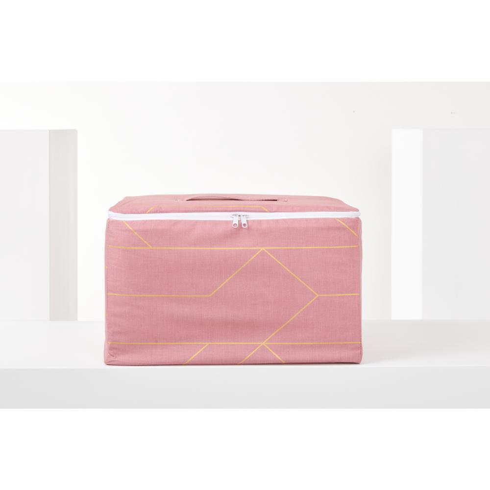 KraftKids Aufbewahrungsbox Stoff goldene Linien auf Rosa 33 x 20 x 20 cm