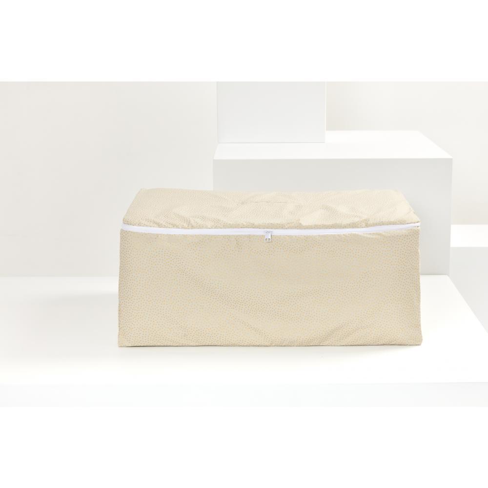 KraftKids Körbchen für Unterbett goldene unregelmäßige Punkte auf olivem Grün 60 x 40 x 17 cm