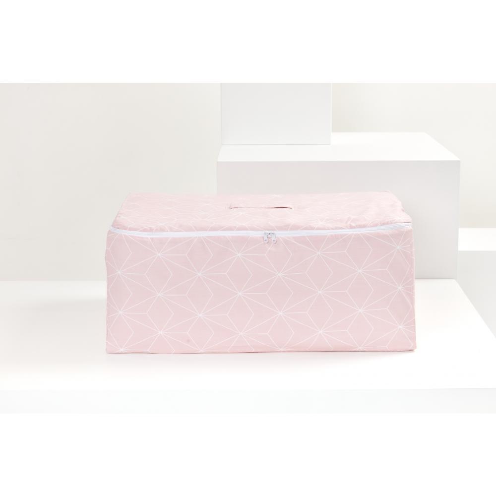KraftKids Körbchen für Unterbett weiße dünne Diamante auf Altrosa 60 x 40 x 17 cm