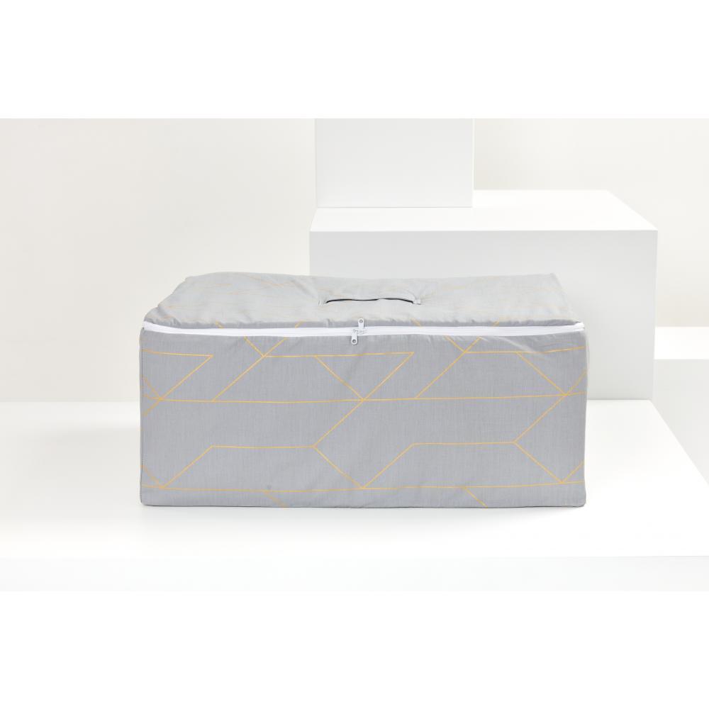 KraftKids Körbchen für Unterbett goldene Linien auf Grau 60 x 40 x 17 cm