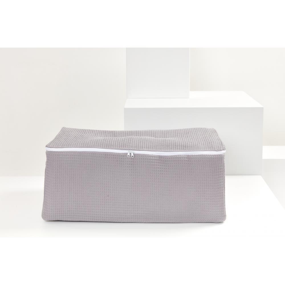 KraftKids Körbchen für Unterbett Waffel Piqué grau 60 x 40 x 17 cm