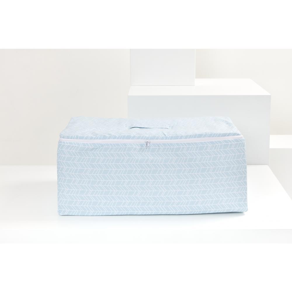 KraftKids Körbchen für Unterbett weiße Feder Muster auf Blau 60 x 40 x 17 cm