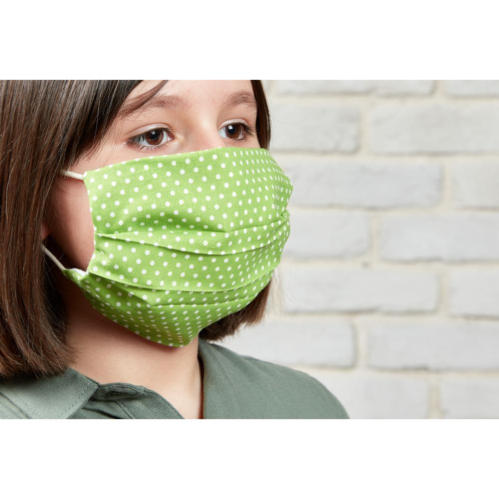 KraftKids Gesichtsmaske weiße Punkte auf Grün