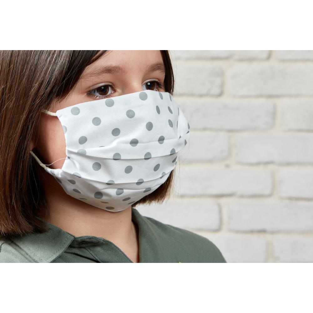 KraftKids Gesichtsmaske graue Punkte auf Weiss