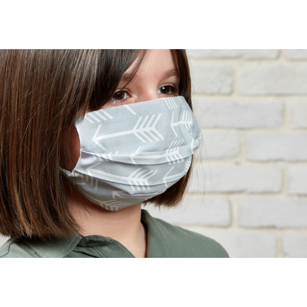 KraftKids Gesichtsmaske weiße Pfeile auf Grau