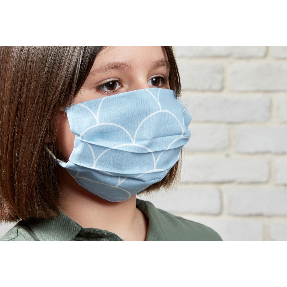 KraftKids Gesichtsmaske weiße Halbkreise auf Pastelblau