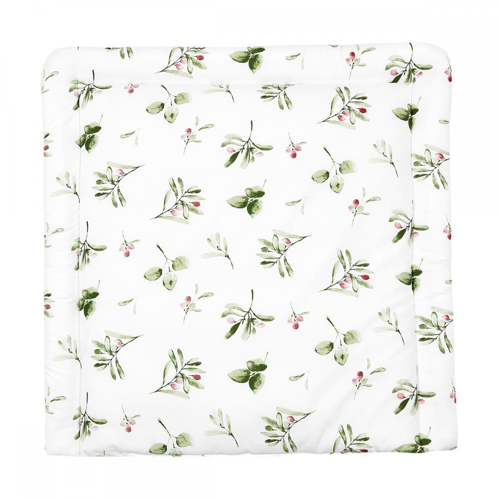 KraftKids Wickelauflage Zweige grün rot auf Weiß breit 60 x tief 70 cm passend für Waschmaschinen-Aufsatz von KraftKids