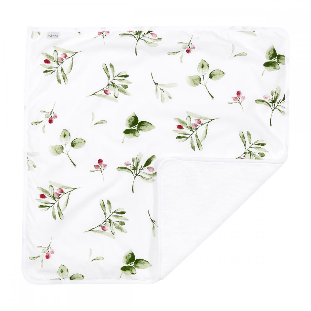KraftKids Wickelunterlage Zweige grün rot auf Weiß 3 Lagen wasserundurchlässig weich Frotte 100% Baumwolle