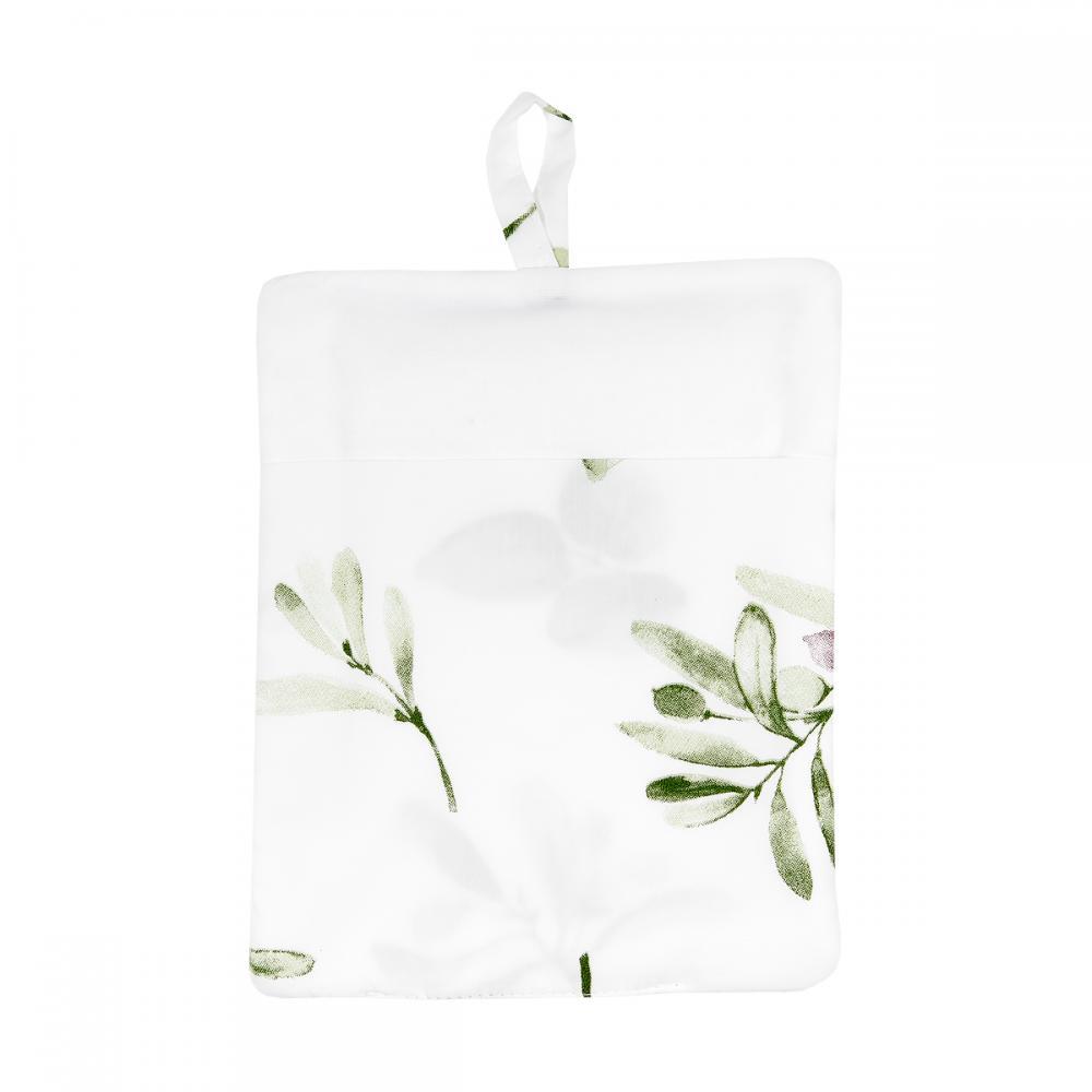 KraftKids Waschlappen Zweige grün rot auf Weiß