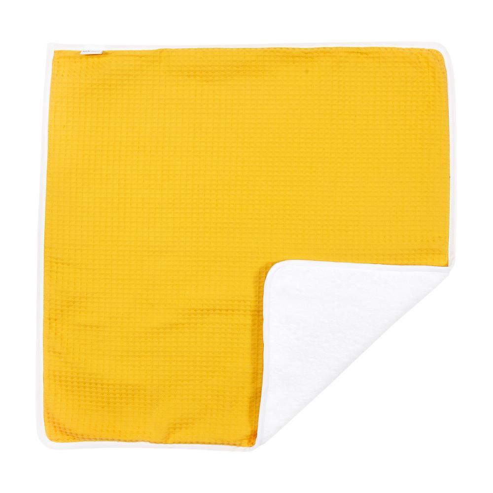 KraftKids Wickelunterlage Waffel Piqué mustard 3 Lagen wasserundurchlässig weich Frotte 100% Baumwolle