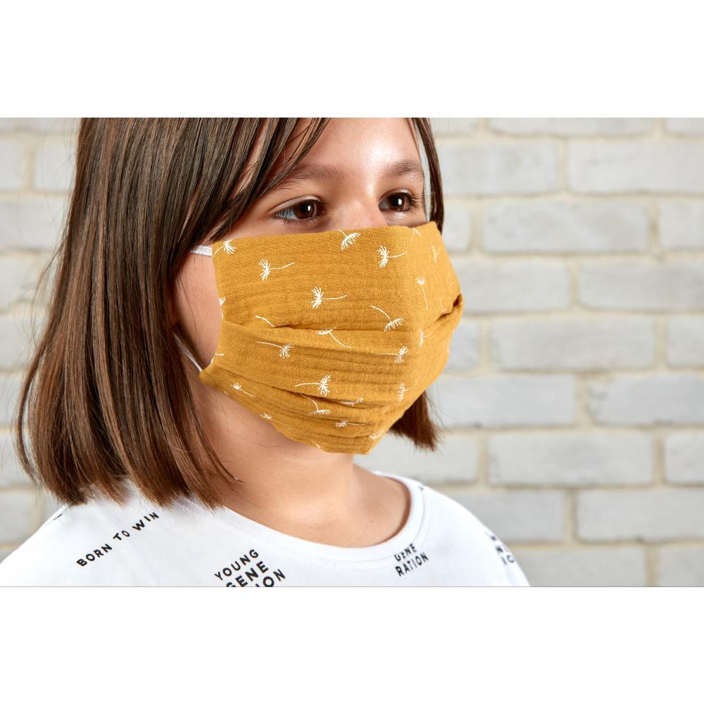KraftKids Gesichtsmaske Musselin gelb Pusteblumen