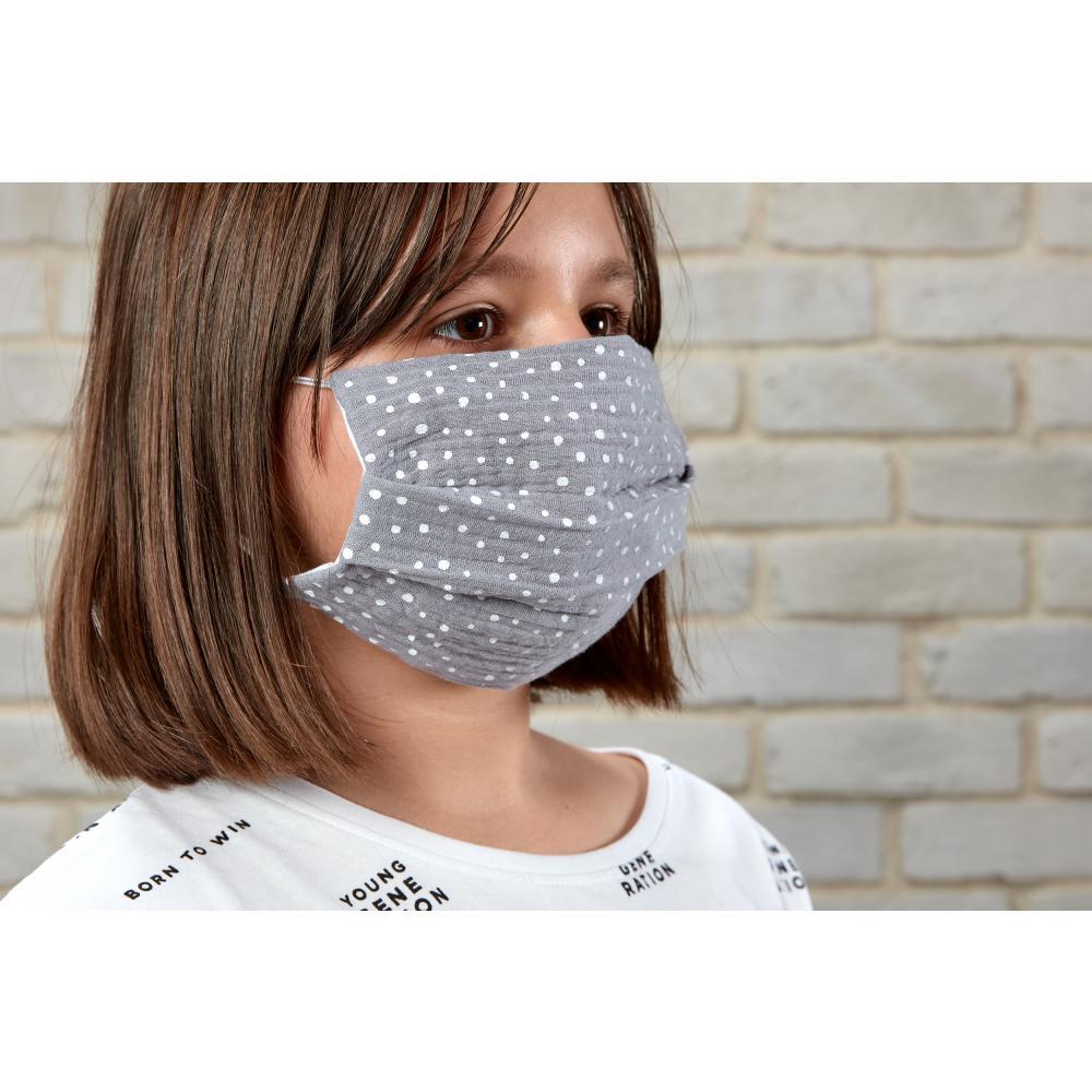 KraftKids Gesichtsmaske Musselin grau Punkte