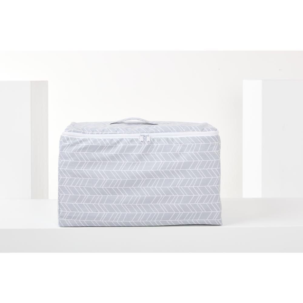 KraftKids Körbchen verschliessbar weiße Feder Muster auf Grau 33 x 20 x 20 cm