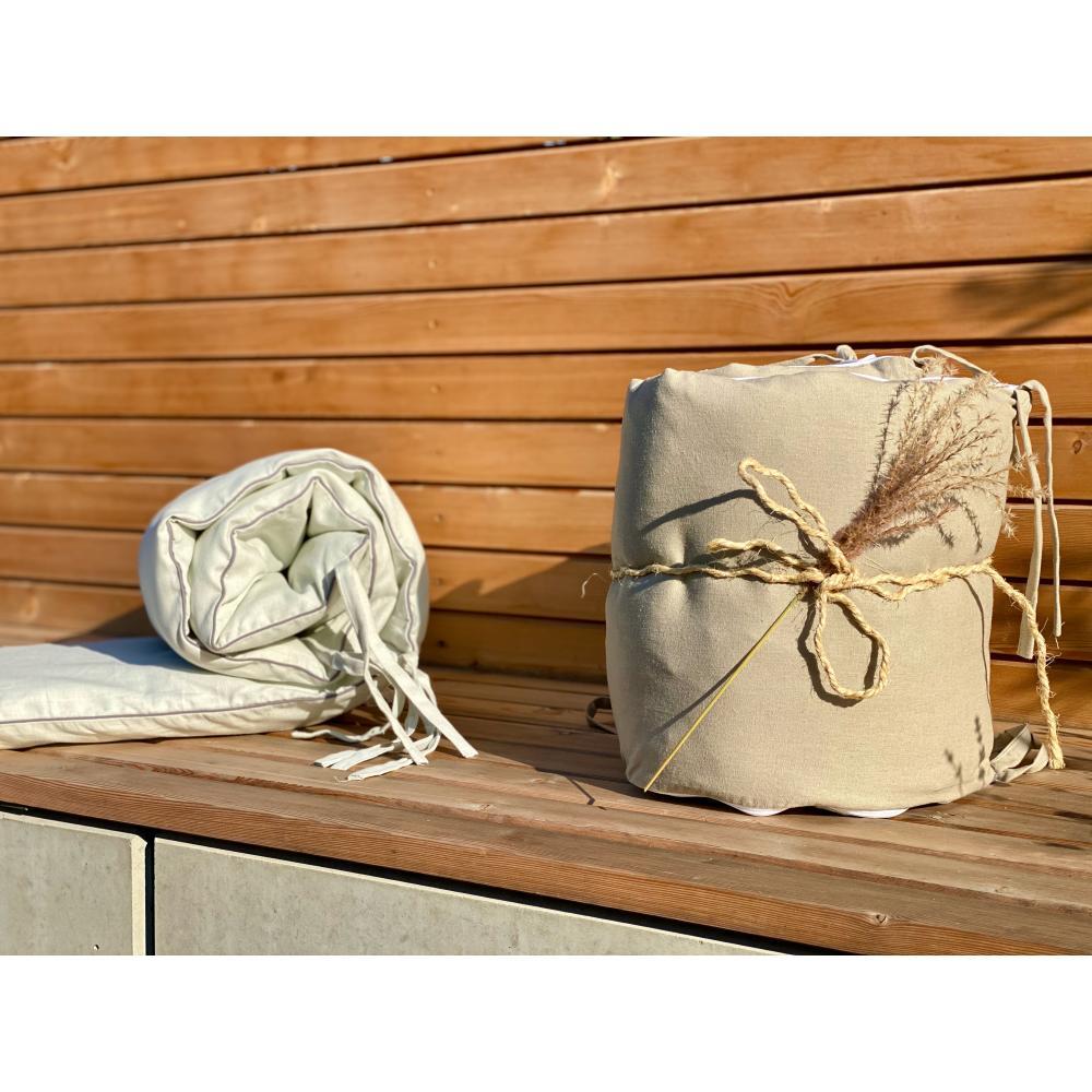KraftKids Nestchen Leinen Natur Braun Nestchenlänge 60-70-60 cm für Bettgröße 140 x 70 cm