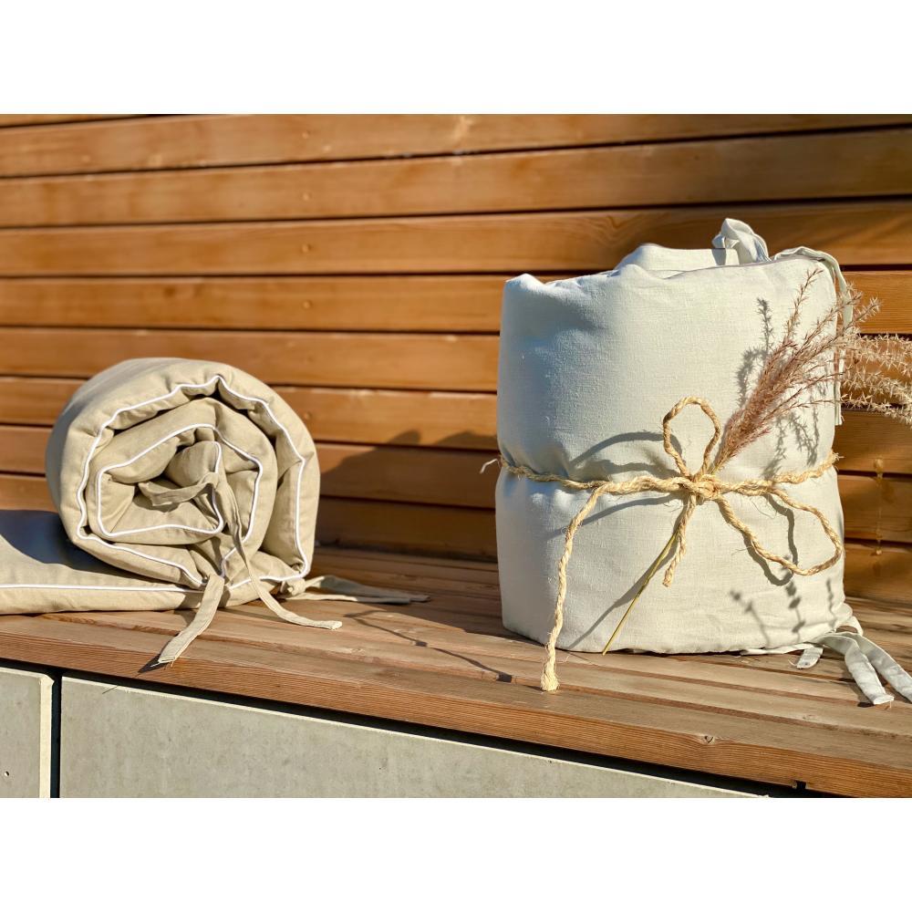 KraftKids Nestchen Leinen leicht grünes Weiß Nestchenlänge 60-70-60 cm für Bettgröße 140 x 70 cm