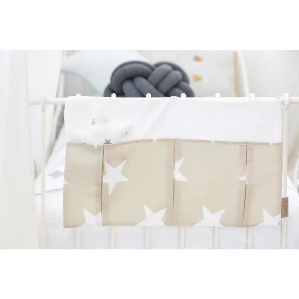 KraftKids Betttasche große weiße Sterne auf Beige und Uniweiss