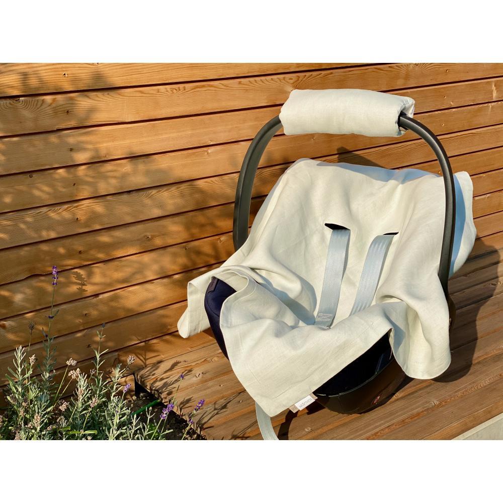 KraftKids Babydecke für Babyschale Sommer Leinen leicht grünes Weiß