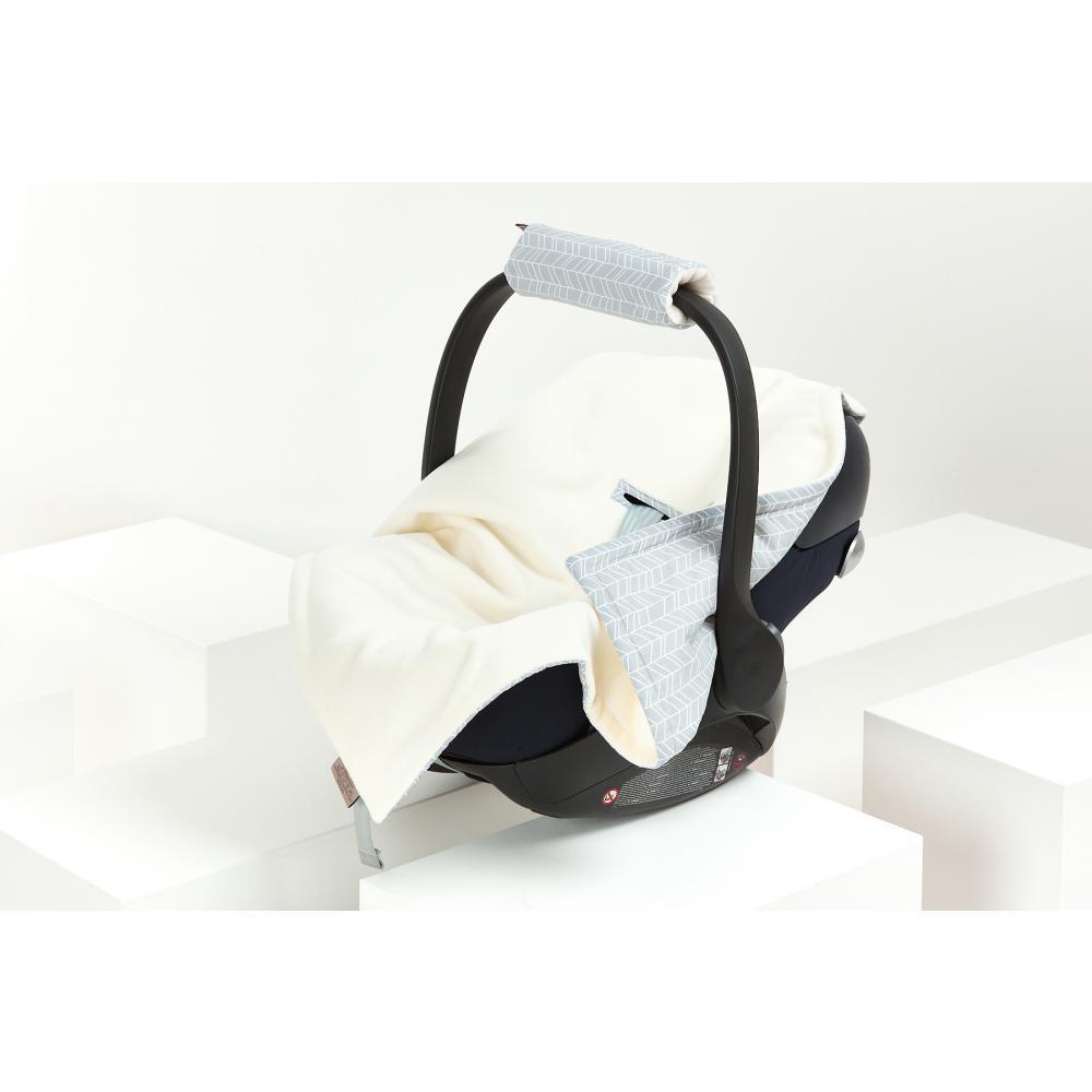 KraftKids Decke für Babyschale Winter weiße Feder Muster auf Grau