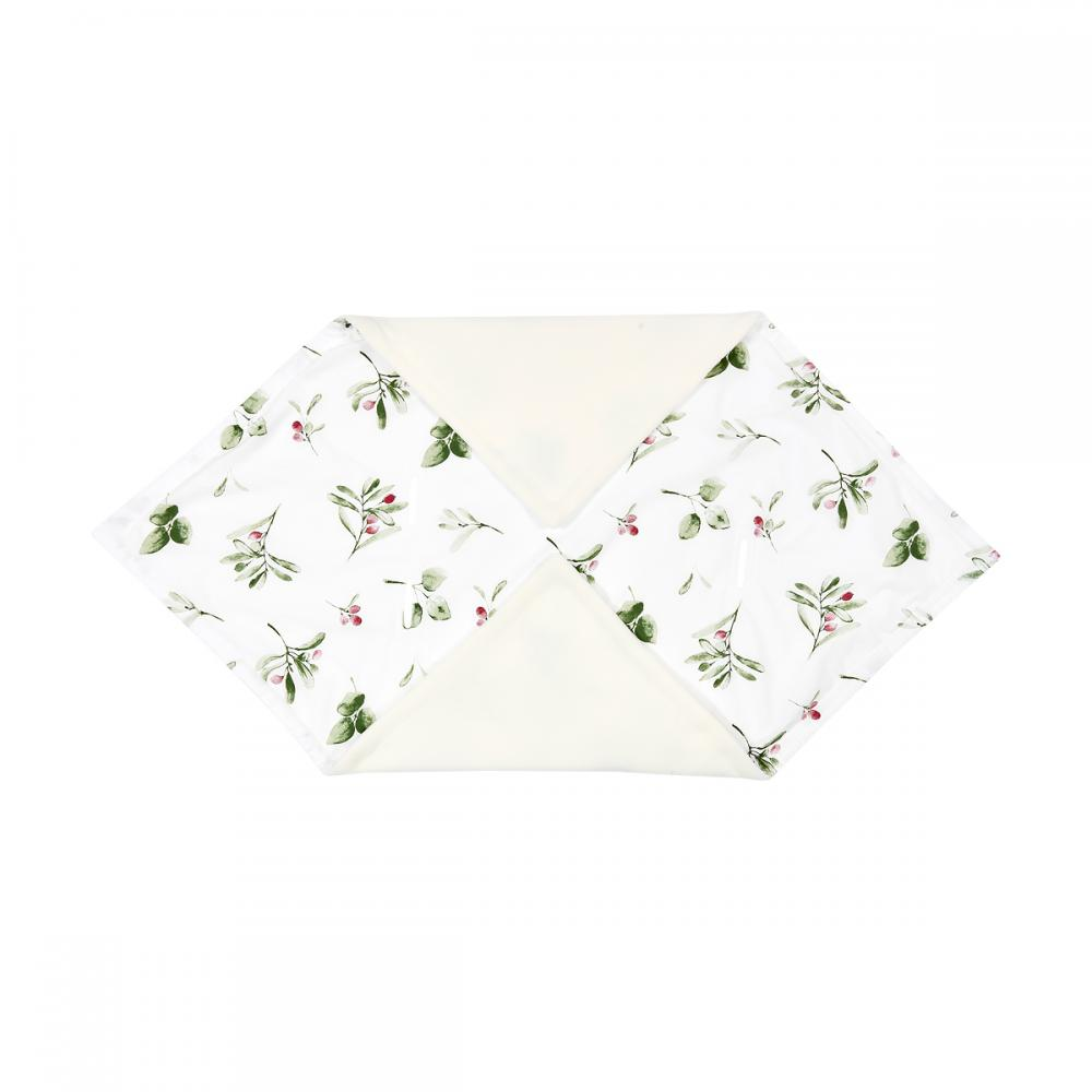 KraftKids Decke für Babyschale Winter Zweige grün rot auf Weiß