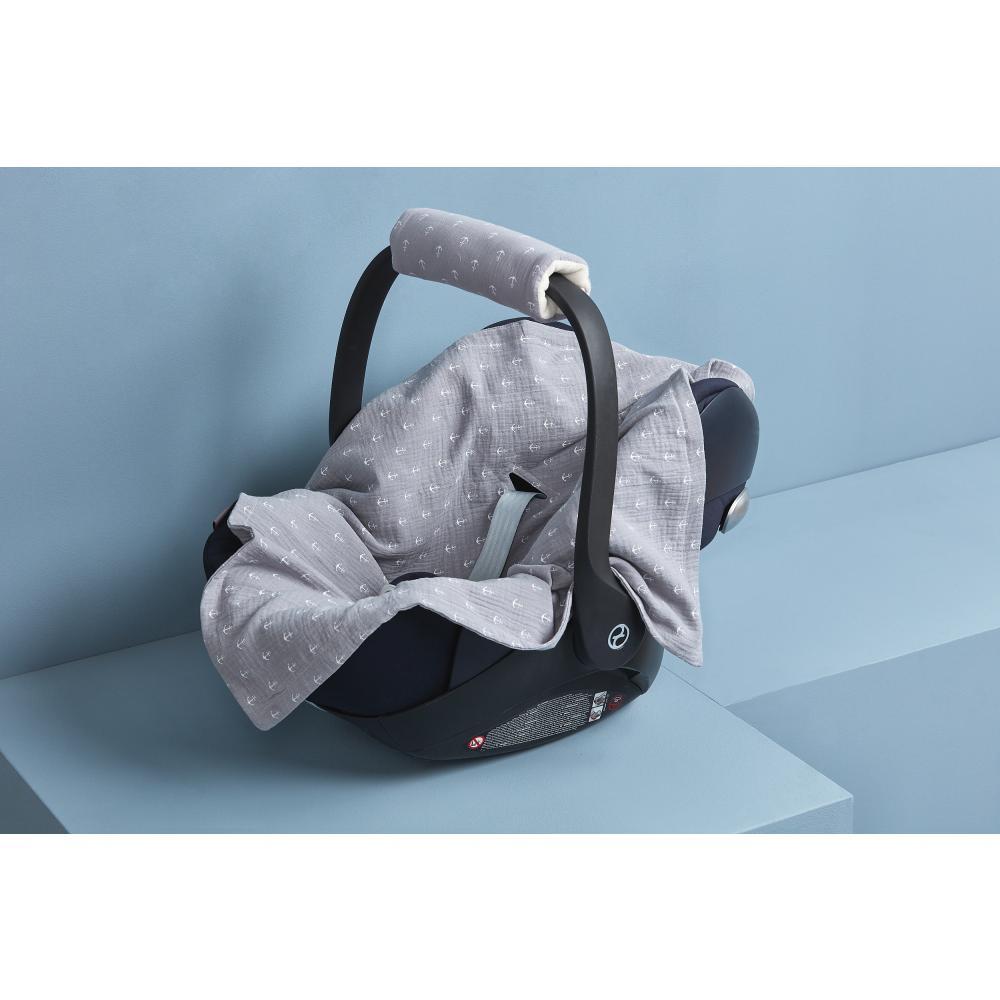 KraftKids Babydecke für Babyschale Sommer Musselin grau Anker