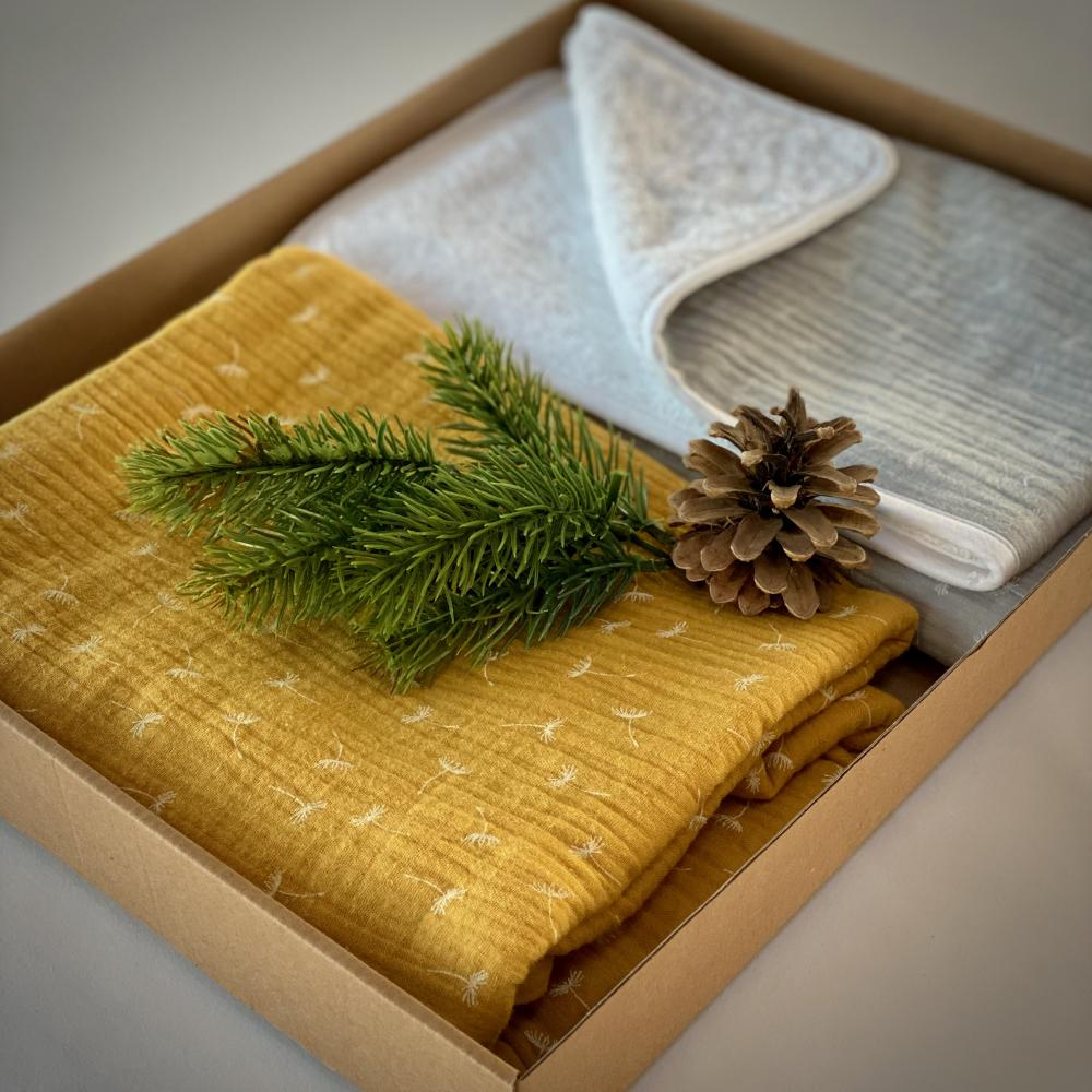 KraftKids Geschenkbox Musselin gelb Pusteblumen und Musselin grau Pusteblumen