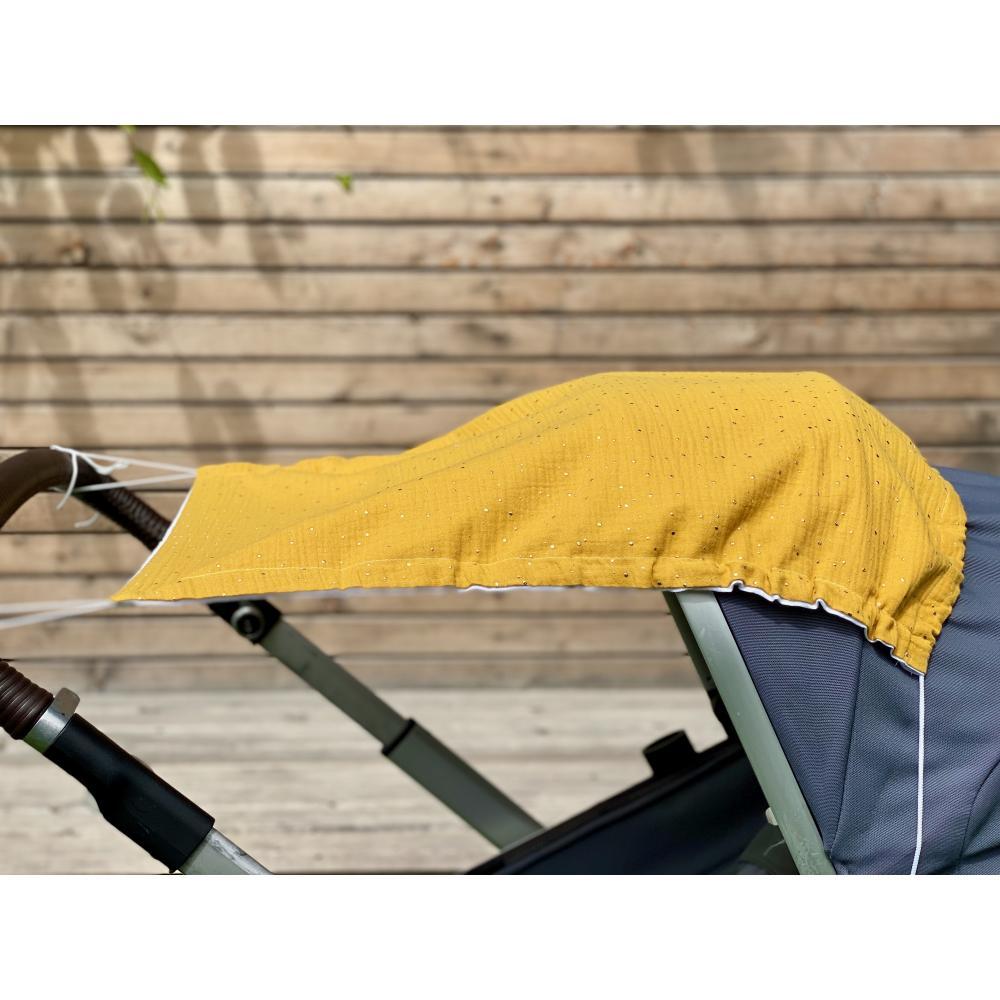 KraftKids Sonnensegel Musselin goldene Punkte auf Gelb
