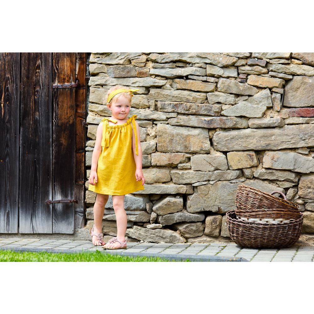 KraftKids Mädchen Kleid Musselin goldene Punkte auf Gelb