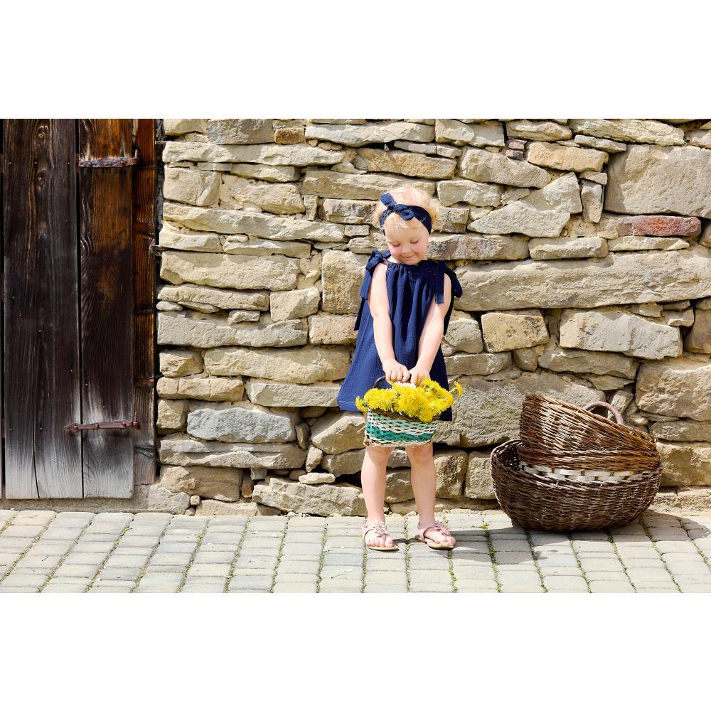 KraftKids Mädchen Kleid Musselin dunkelblau