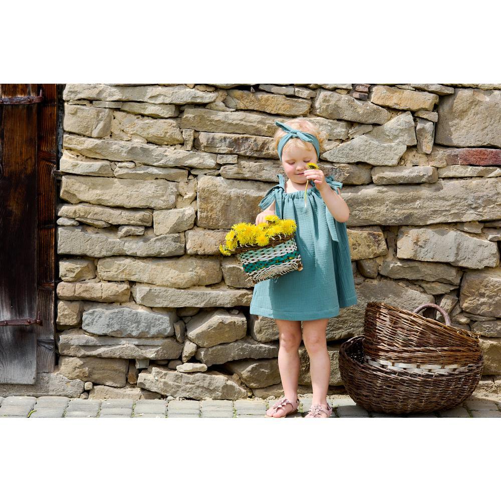 KraftKids Mädchen Kleid Musselin nilblau