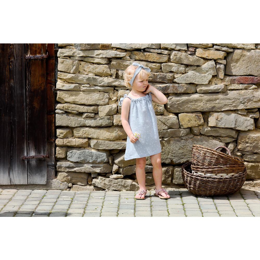 KraftKids Mädchen Kleid Musselin grau Pusteblumen