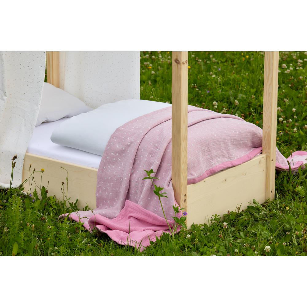 KraftKids Tagesdecke Musselin rosa und Musselin rosa Pusteblumen