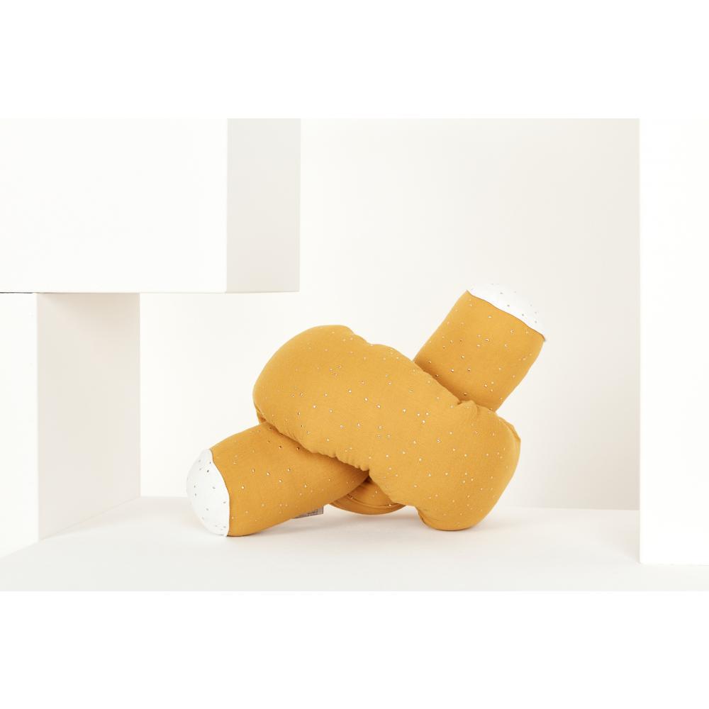 KraftKids Bettrolle Musselin goldene Punkte auf Gelb Stärke: 10 cm, Rollenlänge 100 cm