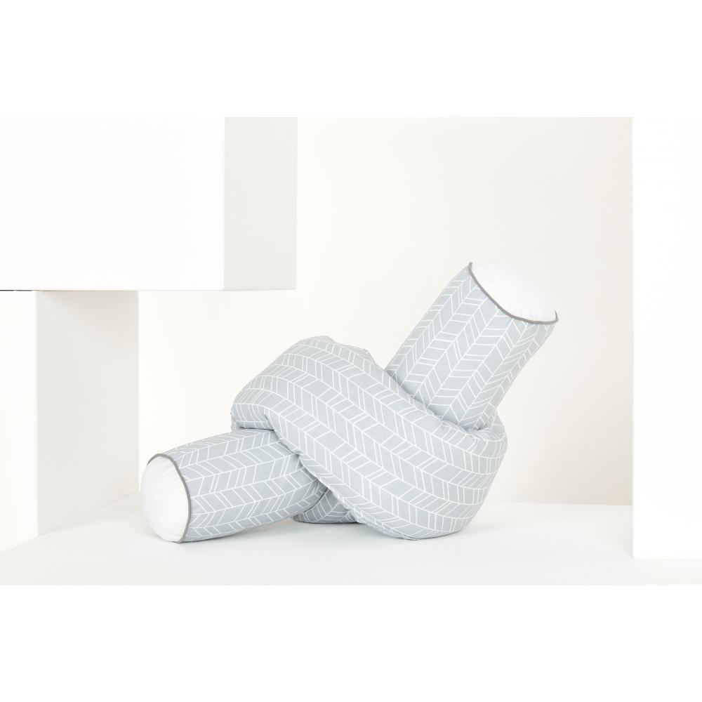 KraftKids Bettrolle weiße Feder Muster auf Grau Stärke: 10 cm, Rollenlänge 100 cm