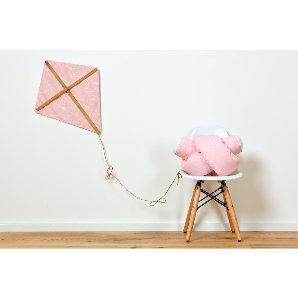 KraftKids Bettrolle abgerundete Dreiecke weiß auf Rosa Stärke: 10 cm, Rollenlänge 100 cm
