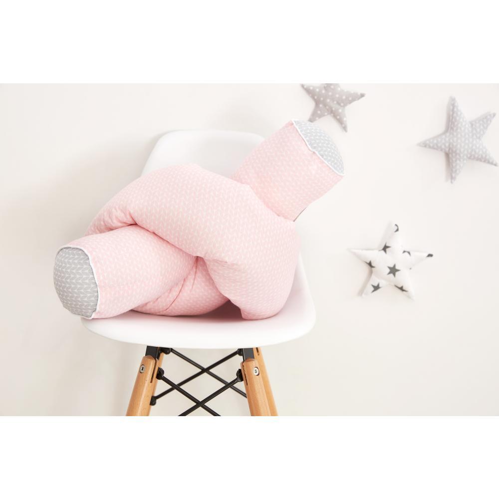 KraftKids Bettrolle kleine Blätter hellgrau auf Weiß und kleine Blätter rosa auf Weiß Stärke: 10 cm, Rollenlänge 100 cm