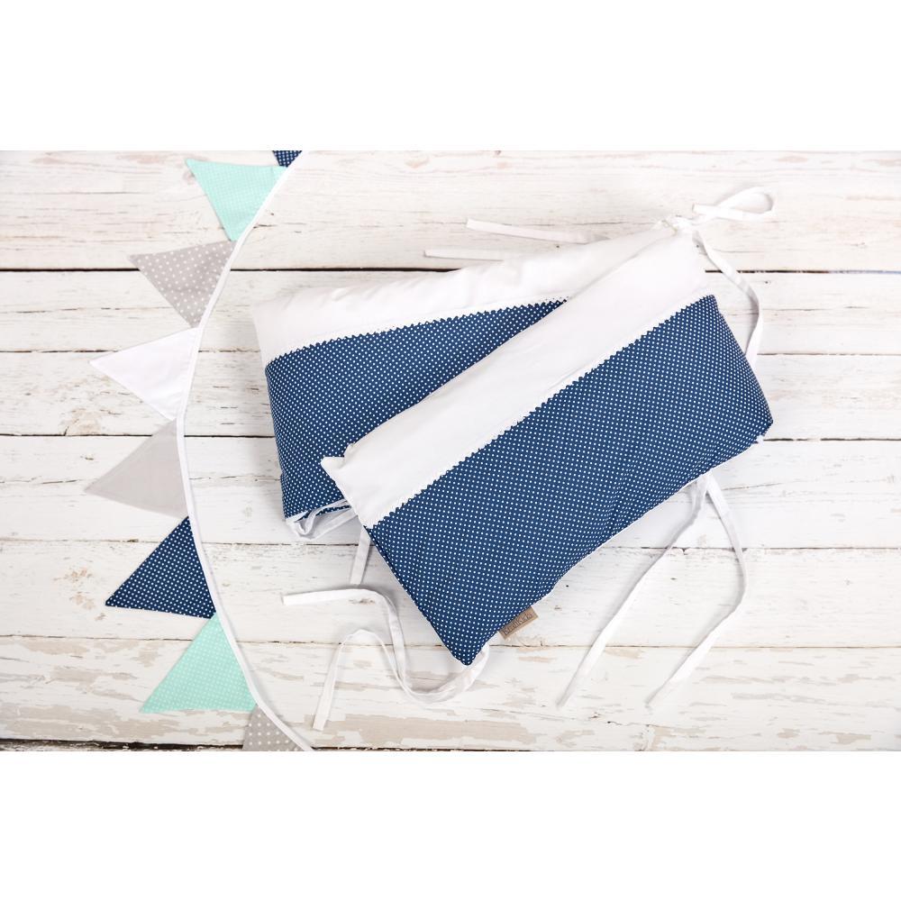 KraftKids Nestchen Uniweiss und weiße Punkte auf Dunkelblau Nestchenlänge 60-60-60 cm für Bettgröße 120 x 60 cm