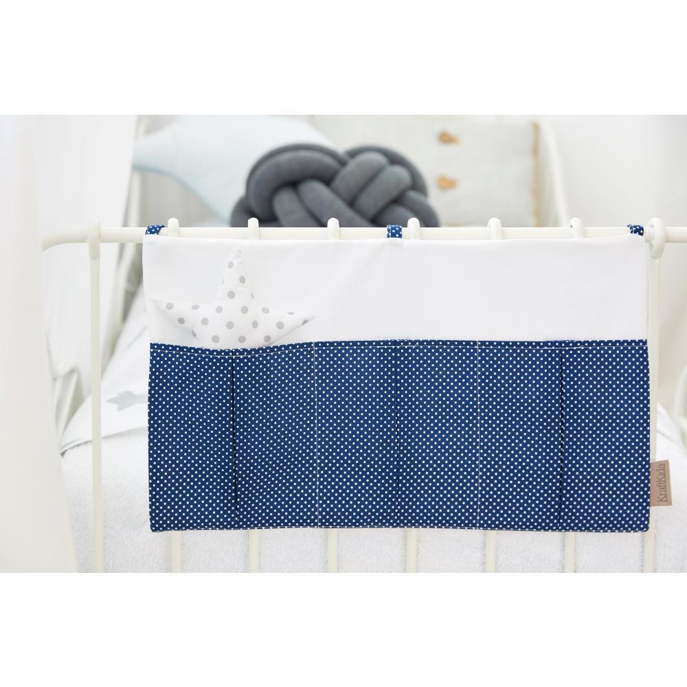 KraftKids Betttasche Uniweiss und weiße Punkte auf Dunkelblau