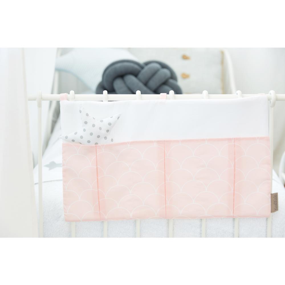 KraftKids Betttasche weiße Halbkreise auf Pastelrosa